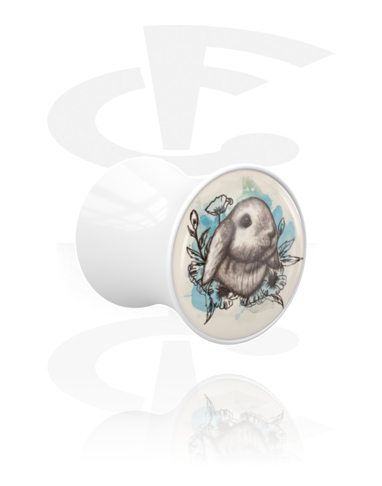 Tunely & plugy, Double Flared Plug s Rabbit Design, Akryl