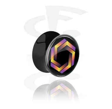 Tunnels & Plugs, Black Double Flared Plug with Colorful Illusion, Acrylic