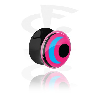 Tunnels & Plugs, Black Double Flared Plug with UV Design, Acrylic
