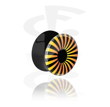 Tunnel & Plugs, Schwarzer Double Flared Plug mit UV-Design, Acryl