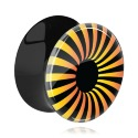 Tunnels & Plugs, Black Double Flared Plug with UV Design, Acrylic