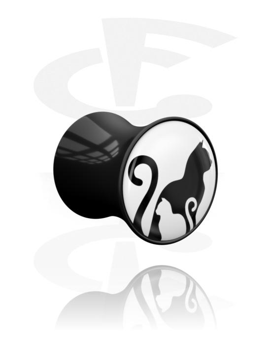 Tunnel & Plug, Double flared plug con motivo bianco e nero, Acrilico