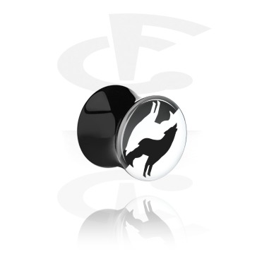 Tunnels & Plugs, Double Flared Plug with Positive / Negative Design, Acrylic