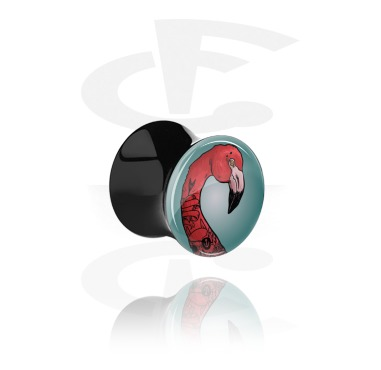 "Tunnels & Plugs, Black Double Flared Plug with Crazy Emo ""Emomingo"", Acrylic"