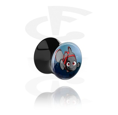 "Tunnels & Plugs, Black Double Flared Plug with Crazy Emo ""Emo-Nemo"", Acrylic"