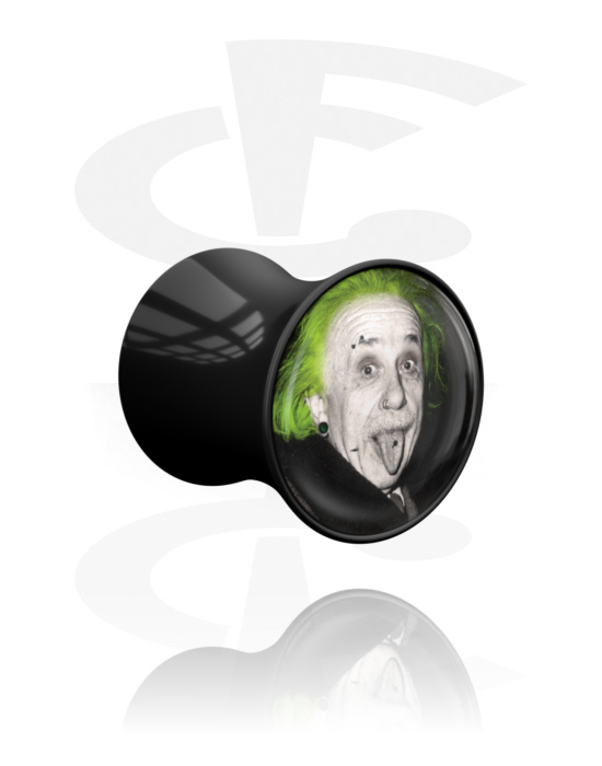 "Tunely & plugy, Double Flared Plug s Crazy Emo ""Emo-Einstein"", Akryl"