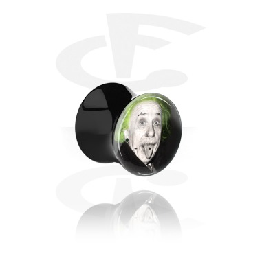 """Tunnels & Plugs, Black Double Flared Plug with Crazy Emo """"Emo-Einstein"""", Acrylic"""