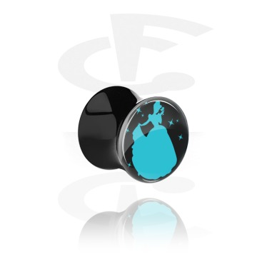 """Tunnels & Plugs, Black Double Flared Plug with Party Princess """"Ginderella"""", Acrylic"""