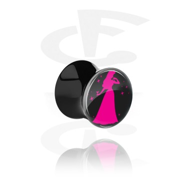 """Tunnels & Plugs, Black Double Flared Plug with Party Princess """"Tequirora"""", Acrylic"""