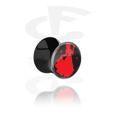 """Tunnels & Plugs, Black Double Flared Plug with Party Princess """"Snowine"""", Acrylic"""