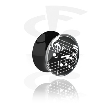 Tunnels & Plugs, Black Double Flared Plug with Musical Note Design, Acrylic
