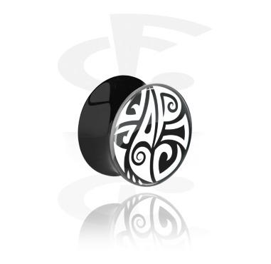 Tunnels & Plugs, Black Double Flared Plug with Maori Design, Acrylic