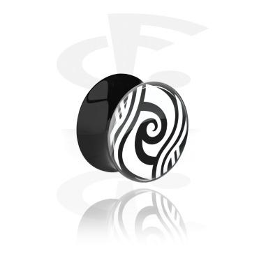 Tunnels & Plugs, Double Flared Plug with Maori Design, Acrylic
