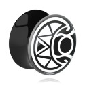 Tunnel & Plugs, Schwarzer Double Flared Plug mit Maori-Design, Acryl