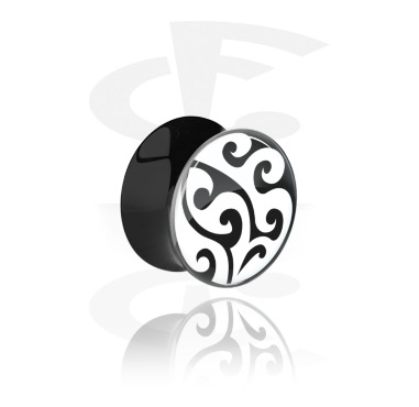 Tunnels & Plugs, Double Flared Plug with Maori Design, Acrylic