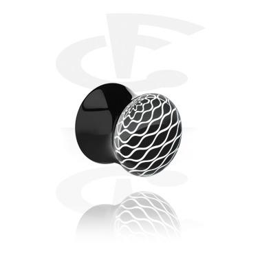 Tunnels & Plugs, Double Flared Plug with Optical Illusion, Acrylic