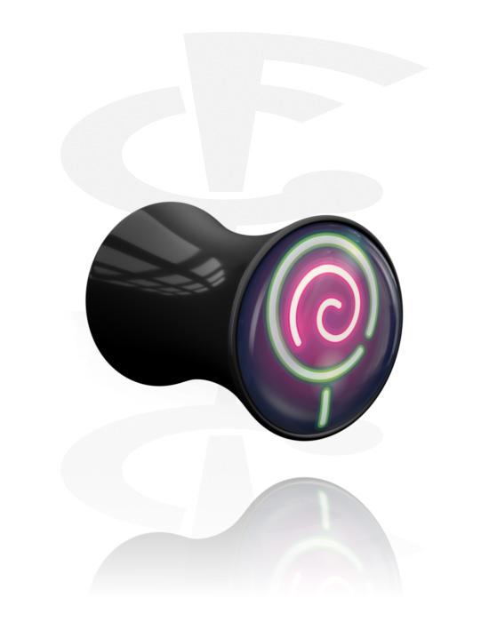 Tunnel & Plug, Double flared plug con disegno Halloween neon, Acrilico