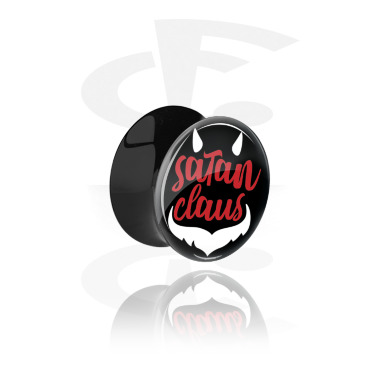 Tunnels & Plugs, Black Double Flared Plug with Satan Claus Design, Acrylic