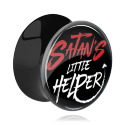 "Tunnels & Plugs, Zwarte Double Flared Plug met ""Satan's little helper"" Imprint, Acryl"