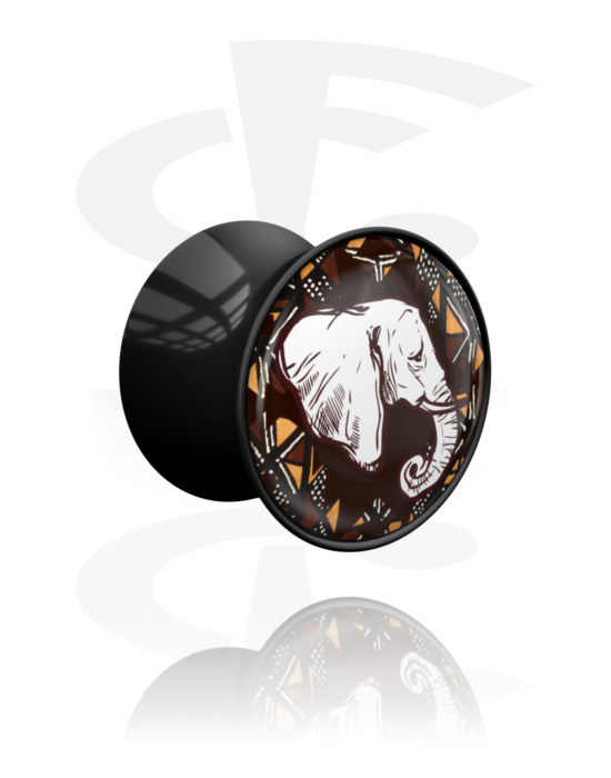 Tunnels & Plugs, Double Flared Plug with African Design, Acrylic