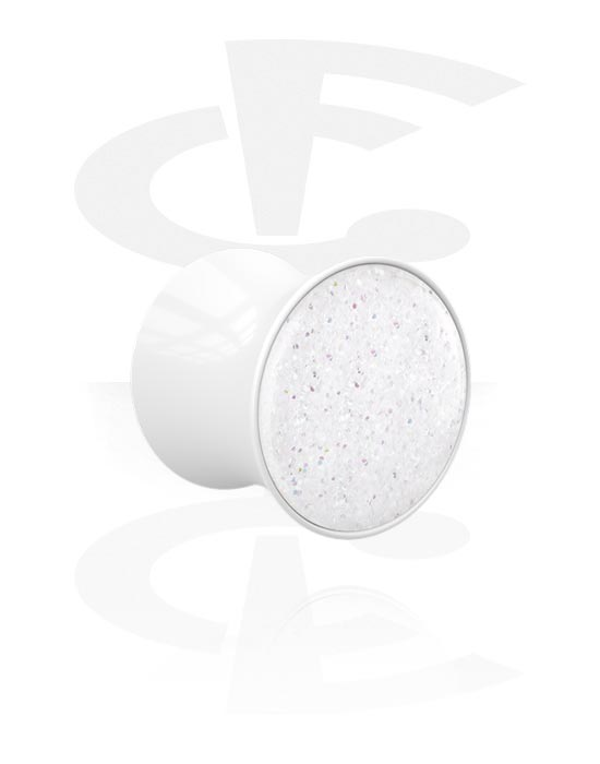 Tunele & plugi, Double Flared Plug z Glitter Design, Akryl