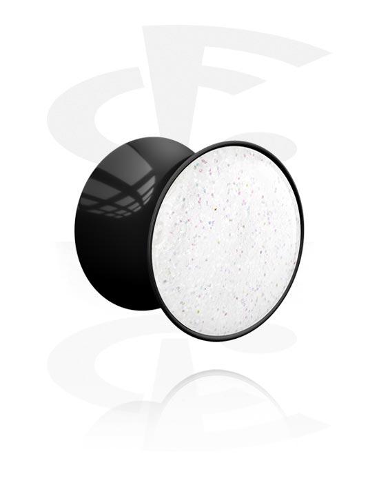 Tunneler & plugger, Double Flared Plug med Glitter Design, Acrylic