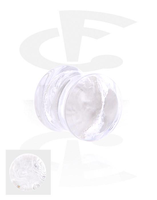 Tunele & plugi, Double Flared Plug z Mother Of Pearl Design, Akryl