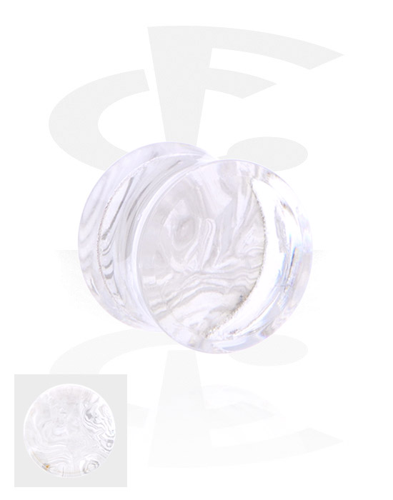 Tunnelit & plugit, Double Flared Plug kanssa Mother Of Pearl Design, Akryyli