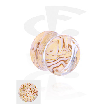 Tunnels & Plugs, Double Flared Plug with Mother Of Pearl Design, Acrylic