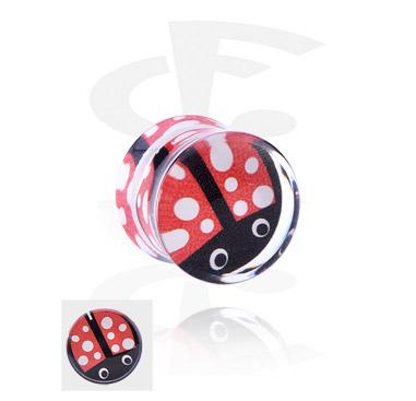 Tunnels & Plugs, Double Flared Plug with sweet ladybug, Acrylic