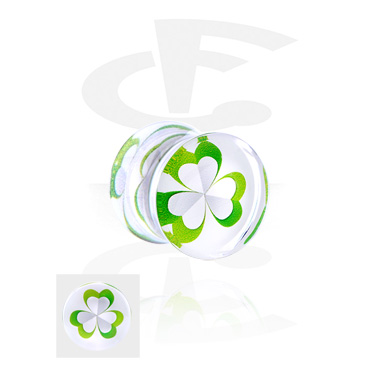 Tunnels & Plugs, Double Flared Plug with Clover Leaf Design, Acrylic
