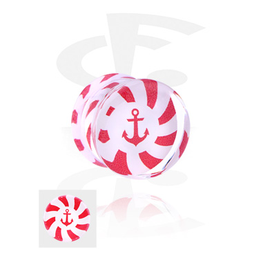 Tunnels & Plugs, Double Flared Plug with Anchor Design, Acrylic