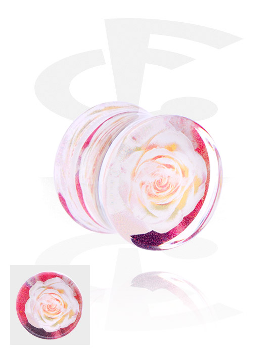 Tunele & plugi, Double Flared Plug z flower design, Akryl