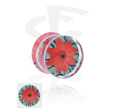 Tunnels & Plugs, Double Flared Plug with flower design, Acrylic