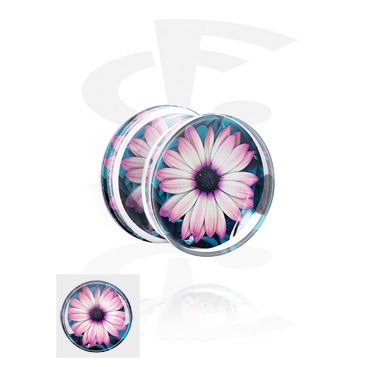 Double Flared Plug con flower design
