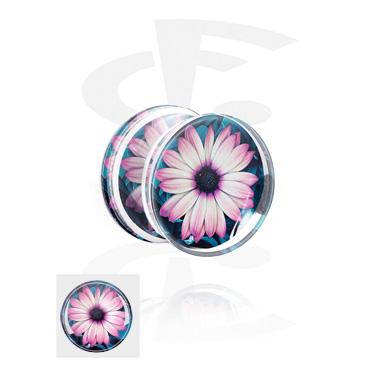 Double Flared Plug mit Blumen-Design