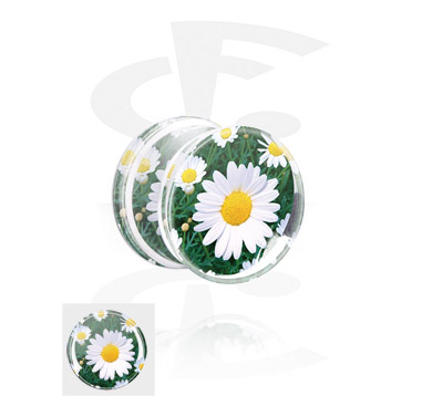 Double Flared Plug mit Blumen-Design