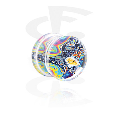 Tunnels & Plugs, Double Flared Plug with Rainbow Design, Acrylic