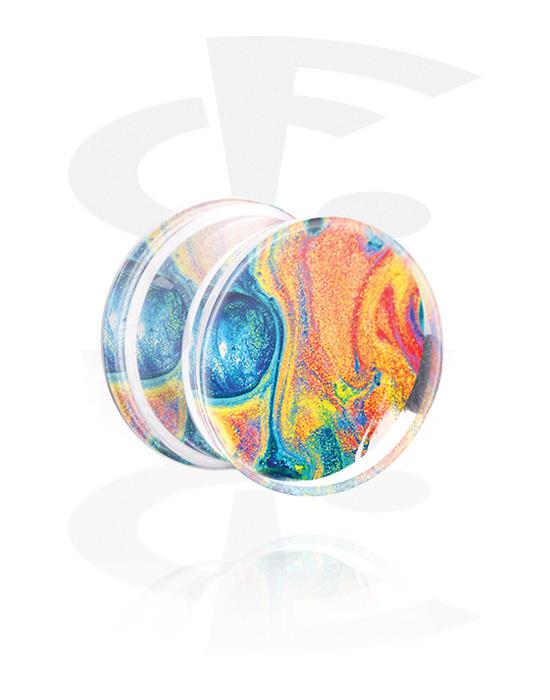 Tunnels & Plugs, Double Flared Plug with Rainbow Design, Acrylic