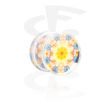 Tunnels & Plugs, Double Flared Plug with Kaleidoscope Design, Acrylic