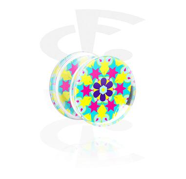 Tunnel & Plugs, Double Flared Plug mit Kaleidoskop-Design, Acryl