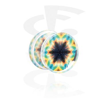 Double flared plug com design de caleidoscópio