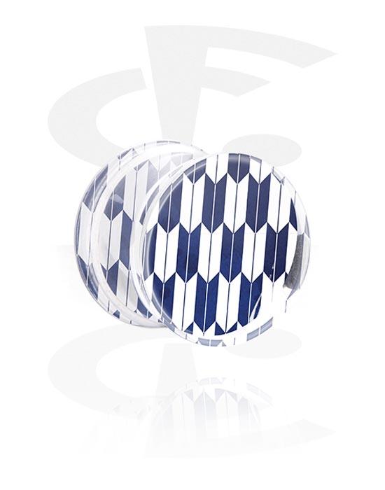 Tunnel & Plug, Double flared plug con mosaico blu oltremare, Acrilico