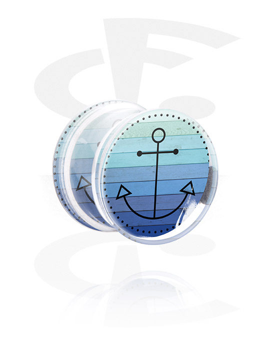 Tunnels & Plugs, Double Flared Plug with Sailing Design, Acrylic
