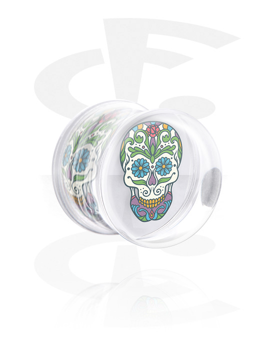 Tunely & plugy, Double Flared Plug s Skull Design, Akryl
