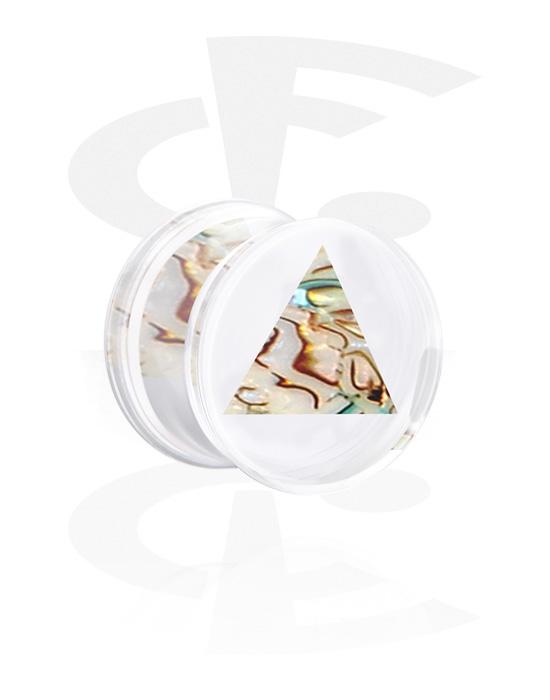 Tunnel & Plug, Double flared plug con inserto madre perla, Acrilico