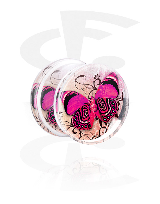 Tunely & plugy, Double Flared Plug s Floral Butterfly Design, Akryl