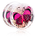 Tunnels & Plugs, Double Flared Plug with Floral Butterfly Design, Acrylic