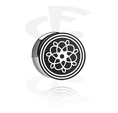 Tunnels & Plugs, Double Flared Plug with lasered Geometric Design, Acrylic