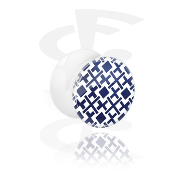 Tunnels & Plugs, Double Flared Plug with Navy Mosaic Design, Acrylic